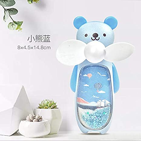 Quicksand Small Fan USB Charging Portable with Night Light Rabbit Fan Cartoon Handheld Mini Fan Bear Powder 14.8Cm8Cm