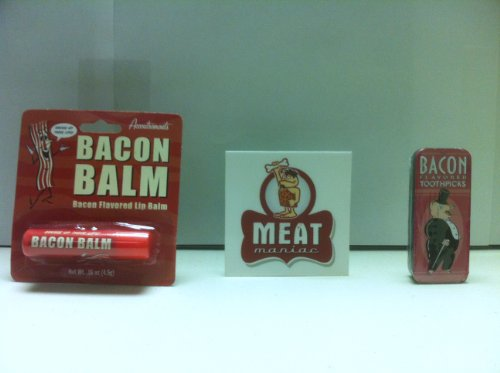 MEAT MANIAC Bacon Lovers Combo Gift Pack with Sticker- Bacon Lip Balm & Bacon Toothpicks