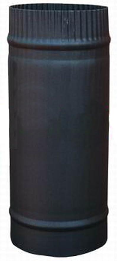 """250mm x 5/"""" 125mm Straight Length Vitreous Enamel Matt Black Stove Flue Pipe"""