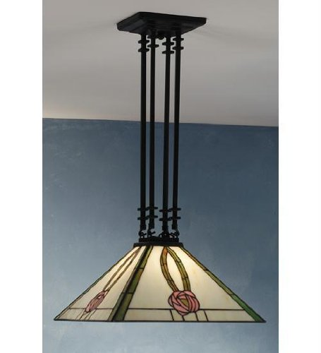 28 Inch H 15 Inch Sq Mack Pink Rose 4 Post Pendant Ceiling Fixture