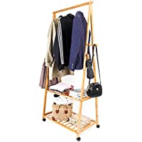 Multi functional Bamboo Clothes Rack on Wheels Rolling Garment Rack with 4 Coat Hooks and 2-Tier Shoe Storage Box Shelves