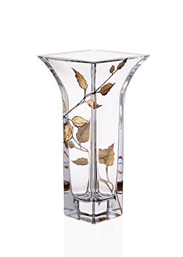 Anna's Exclusive Decor Elegant Hand Blown Clear Glass Vase with Painted Golden Leaves - Lead Free Glass - 8.8 (Gold Accented Blown Glass)