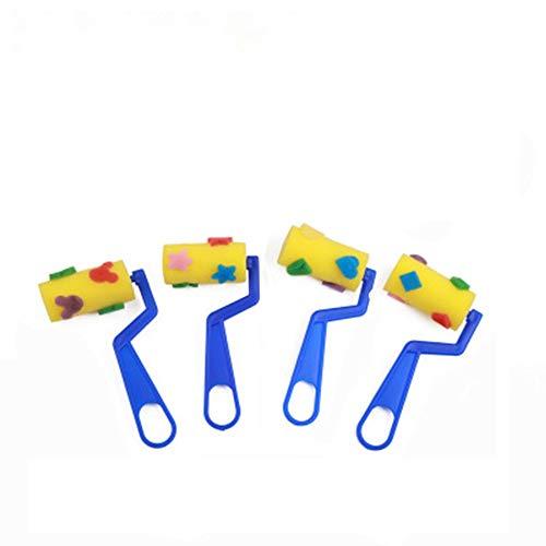 4ピース 子供用 絵画 グラフィティ DIY ツール 絵画 スポンジ ブラシ ローラー スタンプ チューブ ブラシ 18.5 8.5 3.5cm