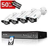 Security Camera System - 4 Channel 1080P DVR 4 x HD 1080P IP67 Waterproof Night Vision Indoor/Outdoor Camera Home Surveillance System, Customizable Motion Detection,Pre-Installed 2TB Hard Drive