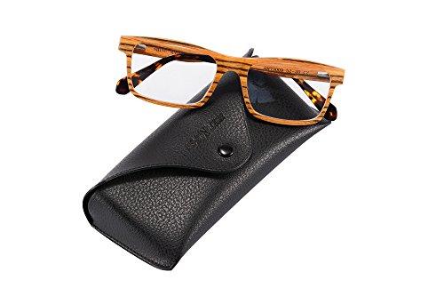 Wood Frame Eyeglasses for Men Clear Lens Glasses-73009(zebra) ()