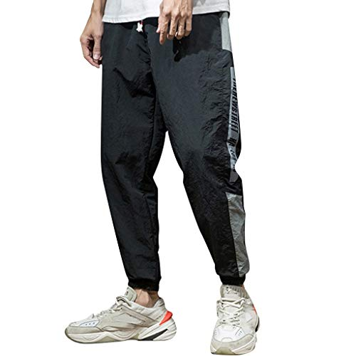 Leadmall Men's Joggers Hip Hop Pants - Men Relaxed Fit Athletic Drawstring Track Harem Pants - Side Striped Letter Print Trousers