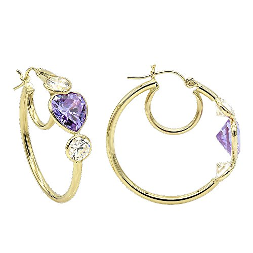 Aleksa 14k Yellow Gold Three-stones Round and Heart shapes CZ White,Purple Cubic-Zirconia Hoops Earrings (Yellow Gold Violet 14k)