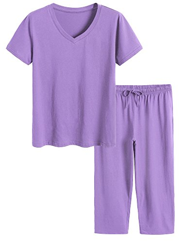 Latuza Women's Cotton Pajamas Set Tops and Capri Pants Sleepwear 2X Purple