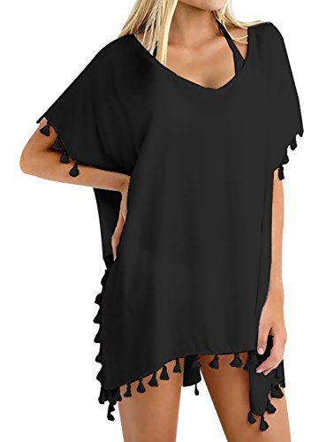 Oryer Womens Chiffon Tassel Beachwear Cover Up Beach Bikini Swimsuit Cover-ups, A-black, One Size