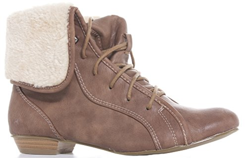 Ladies Womens Flat Low Heel Pixie Booties Pull On Chelsea Faux Leather Shoes Ankle Boots Size Style 19 - Tan