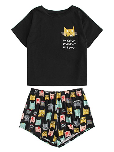 DIDK Women's Cute Cartoon Print Tee and Shorts Pajama Set Black L