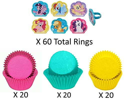 MY LITTLE PONY Cupcake Toppers and Liners - Adorable My Little Pony Rings with Matching Hot Pink, Teal, and Yellow Baking Cups - Enough for 60 Cupcakes