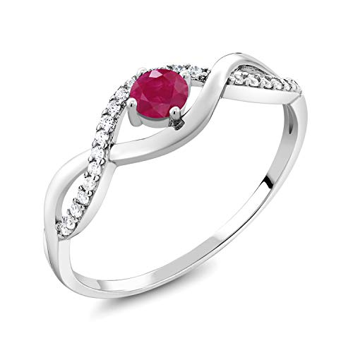 Gem Stone King Red Ruby 925 Sterling Silver Women's Infinity Ring 0.61 Ct Round Gemstone Birthstone (Size 5)