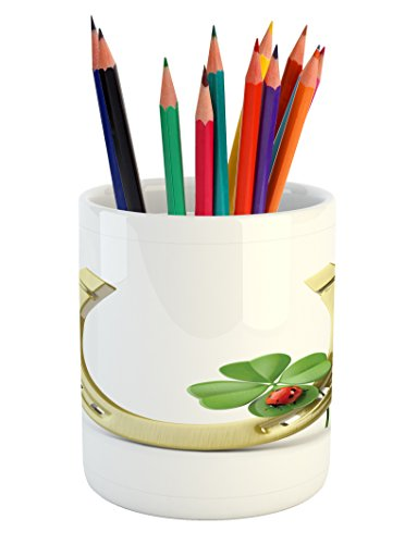 Lunarable Horseshoe Pencil Pen Holder, Four-Leaf Clover Ladybug Botanic Garden Park Superstitious Patrick Holiday, Printed Ceramic Pencil Pen Holder for Desk Office Accessory, Pale Yellow Green