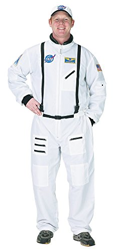 Aeromax Adult Astronaut Suit with Embroidered Cap, White, -