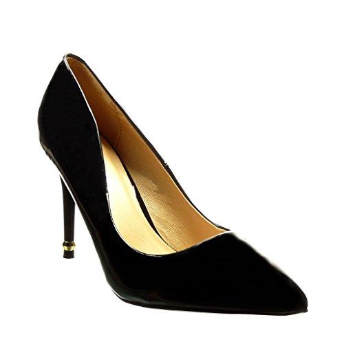 Angkorly - Scarpe da Moda scarpe decollete stiletto sexy donna d'oro verniciato Tacco Stiletto tacco alto 9.5 CM - Nero