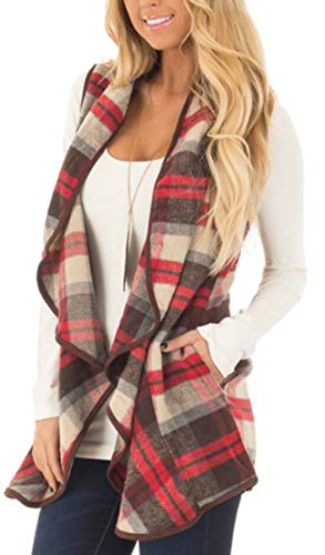 Wool with Womens TTYLLMAO Outerwear Cardigan Lapel 8 Plaid Pocket Sleeveless Jackets 188BWUTP