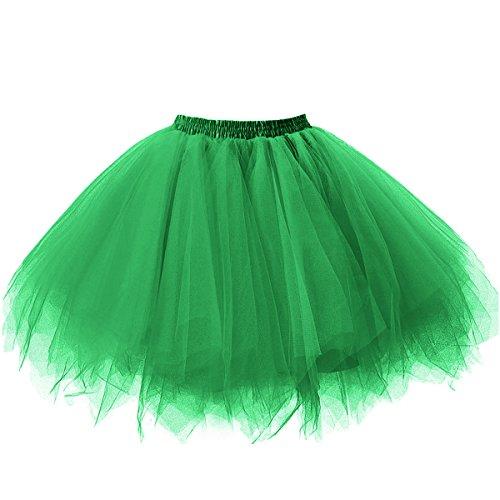 Ellames Women's Vintage 1950s Tutu Petticoat Ballet Bubble Dance Skirt Green S/M