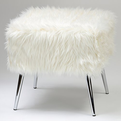 Cortesi Home Olivia White Faux Fur Ottoman, 20'' by Cortesi Home