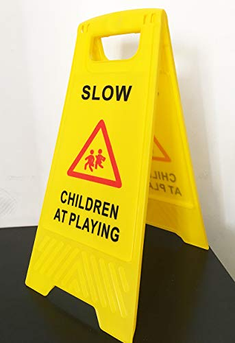AMENITIES DEPOT (Pack of 3) 2-Sided Fold-Out Floor Safety Sign with Children at Playing by AMENITIES DEPOT (Image #1)