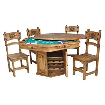 Delightful Rustic Solid Wood Game Table With Hideaway Top   Poker Table