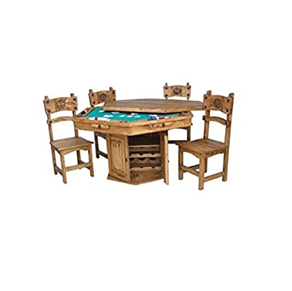 Rustic Solid Wood Game Table With Hideaway Top   Poker Table