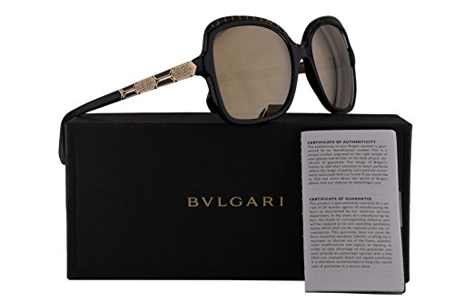 Bvlgari BV8181B Sunglasses Black Gold w/Light Brown Mirror Gold Lens 56mm 54205A BV 8181B BV8181-B BV 8181-B - Bv Sunglasses