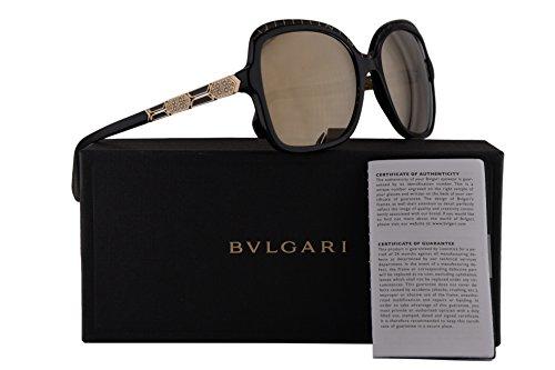 Bvlgari BV8181B Sunglasses Black Gold w/Light Brown Mirror Gold Lens 56mm 54205A BV 8181B BV8181-B BV 8181-B - Sunglasses Bv