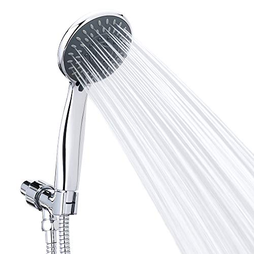 (Handheld Shower Head High Pressure 5 Spray Settings Massage Spa Detachable Hand Held Showerhead Chrome Face with Hose and Adjustable Bracket)