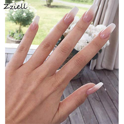 (24Pcs/Set Long Ballerina False Nails Pink Blue Coffin Shaped Fake Nail Art Finger Nail)