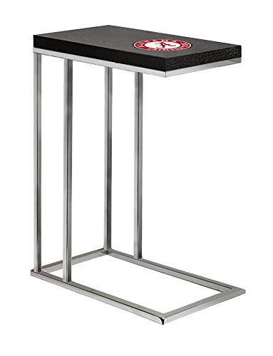 Logo Team Under Glass (The Furniture Cove Black Laminate (Formica) and Chrome Finish Slide-Under TV Tray/End Table with Your Choice of a Sports Team Logo (Alabama Round))