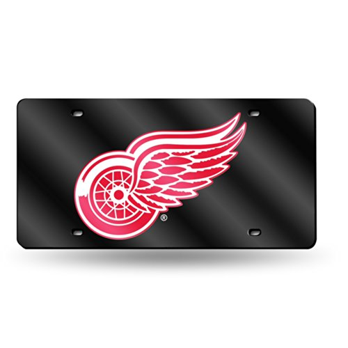 Rico Detroit Red Wings Deluxe Mirrored Laser Cut License - Wings Red Laser Detroit