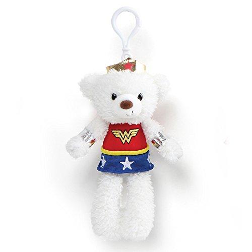 Gund DC Universe Fuzzy Bear Wonder Woman Plush Backpack Clip, 6.5