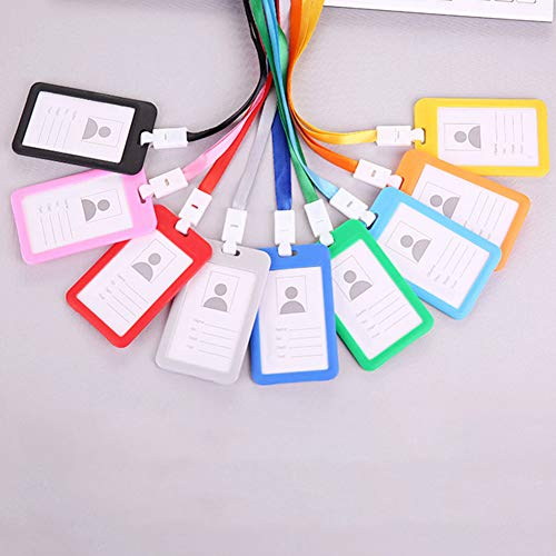 Softmusic Name Tag Lanyard,Portable Colorful Neck Strap Hanging ID Card Holder Red by Softmusic (Image #2)