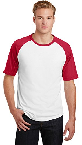 Sport-Tek Mens Short Sleeve Colorblock Raglan Jersey (T201) -WHITE/RED ()