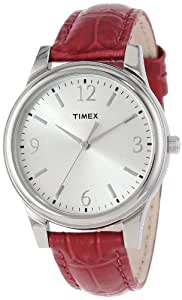 Timex Women's T2P091TN Dark Pink Croco Patterned Leather Strap Watch