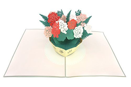 (PopLife White and Pink Flower Bouquet 3D Pop Up Mother's Day Card - Anniversary Pop Up Birthday Card, Engagement, Wedding - Gift for Her - Fold Flat for Mailing - for Mom, for Daughter, for Wife)