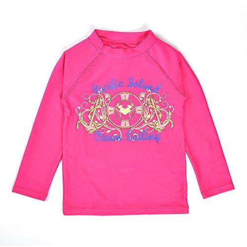 L'enfant Kids Girls Long Sleeve Protective Rash Guard Swim Shirt Rose Red