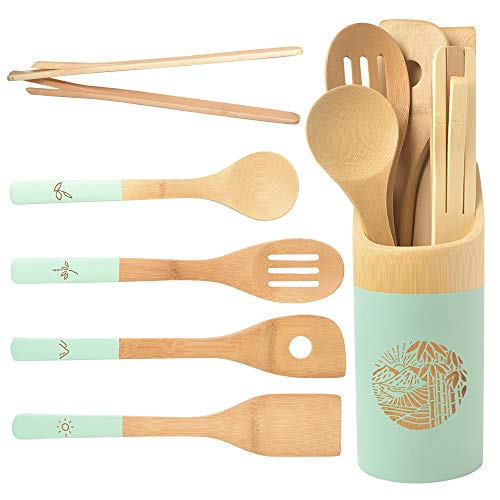 Organic 6 Piece Bamboo Cooking & Serving Utensils Set | Kitchen Accessories Kit In Colorful Utensil Holder | Spoon…