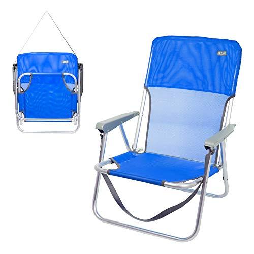 AKTIVE Silla de Playa Plegable, Fija Aluminio, con asa, Azul Marino, 55x55x70 cm, 62605