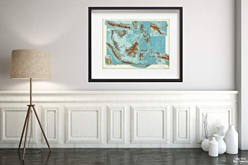 1952 Map World Atlas Indonesia, Phillipines, and Papua New Guinea Vintage Fine Art Reproduction Size: 18x24 Ready to Frame