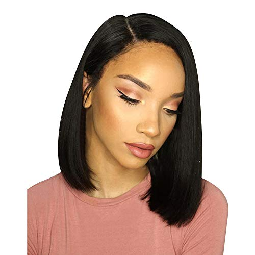 Inkach Clearance Sale Short Straight Wig for Black Womens Cosplay Party Bob Wig Heat Resistant Synthetic Fiber Hair Wig (Black) -