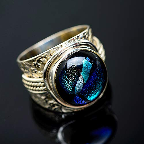 Dichroic Glass Ring - Ana Silver Co Dichroic Glass Ring Size 8.75 (925 Sterling Silver) - Handmade Jewelry, Bohemian, Vintage RING951182
