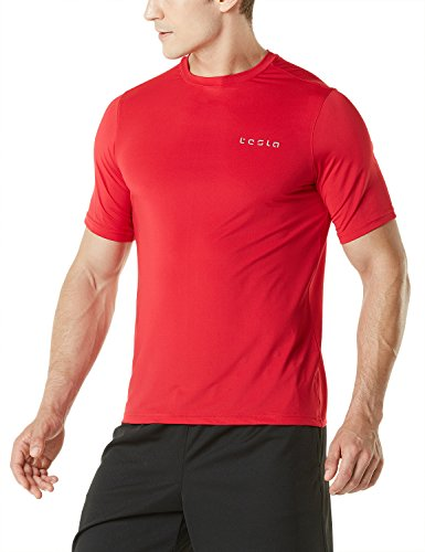 TM-MTS04-RED_Large Tesla Men's HyperDri Short Sleeve T-Shirt Athletic Cool Running Top - Running Mens Top