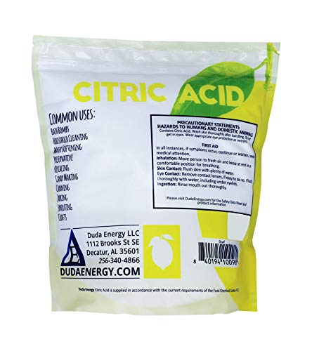 Duda Energy 5caf Pure Citric Acid Food Grade FCC/USP Anhydrous Fine Granular May be used in Organic Products, 5 lb.