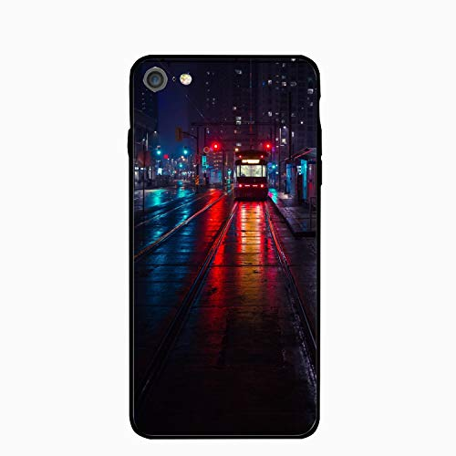 Trolley Stop City Evening Lighting Floral Print PC Cellphone case for iPhone 6/6s