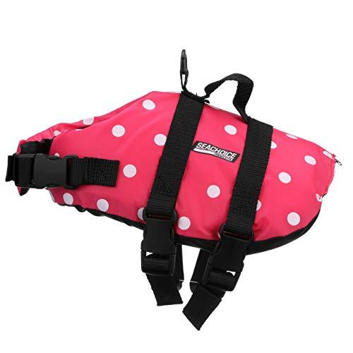 Seachoice 86370 Adjustable Dog Life Vest, Polyethylene Foam Flotation, Pink Polka Dot, Size XS for Dog 7 to 15 ()
