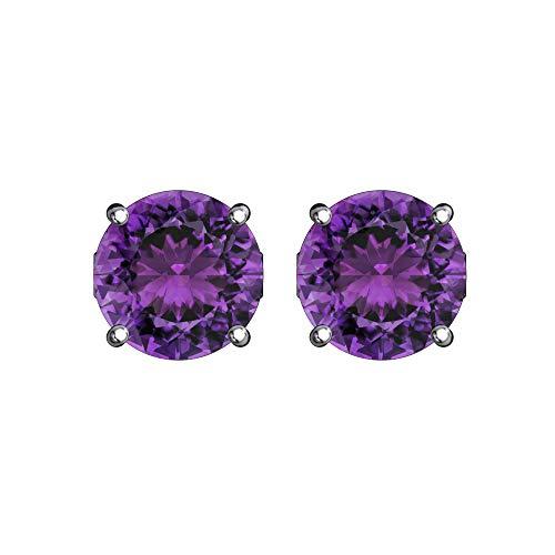Belinda Jewelz 925 Sterling Silver Solitaire 5 mm Round February Birthstone Earrings Classic Fine Prong CZ Gemstone Timeless Jewelry Accessory Stud Earring, 1.3 Carat Amethyst Purple Cubic Zirconia