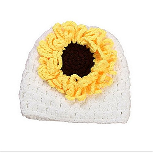 Baby Crochet Knit Clothes Photo Prop Costume Hat Cap White Sunflower