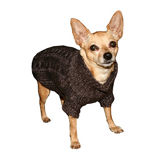 Hip Doggie Chocolate Angora Cable Knit Sweater